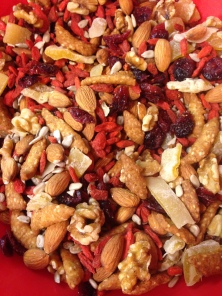 Sesame sticks, walnuts, almonds, dried mango, cranberries, and sunflower seeds.
