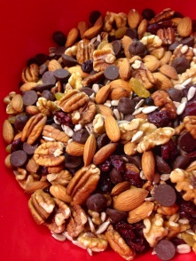 Walnuts, pecans, almonds, chocolate chips, sunflower seeds, golden raisins, cranberries, dried cherries and blueberries.