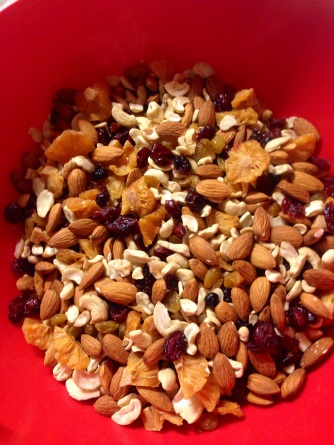 Almonds, cashews, dried pineapple, cranberries, golden raisins, cherries, and blueberries.